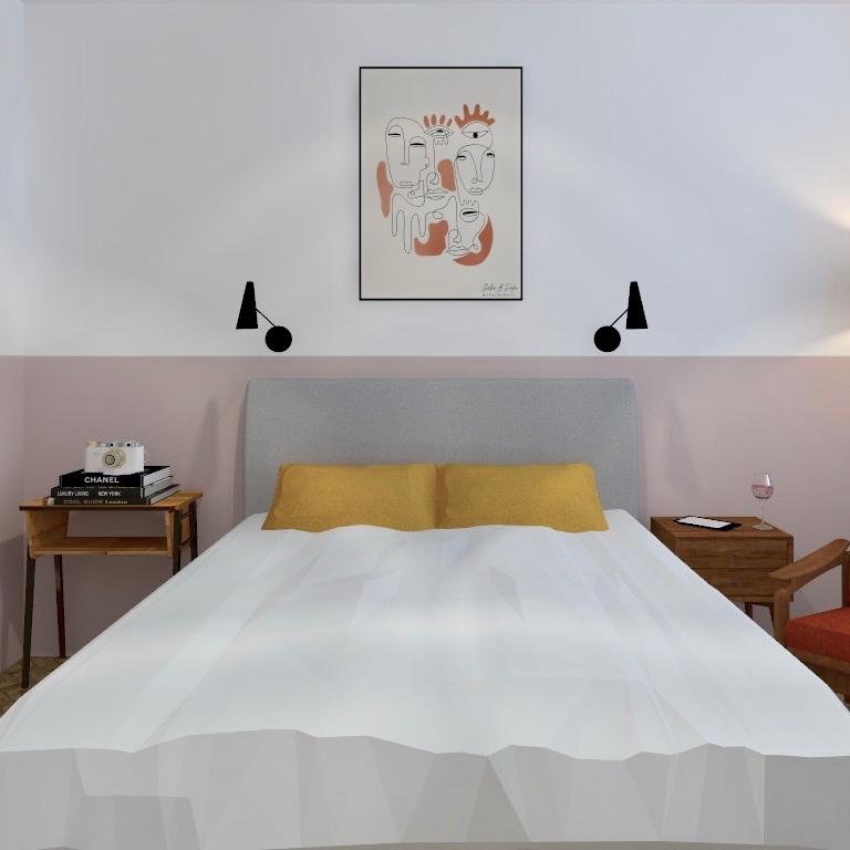 Sypialnia z różową lamperią mieszkanie w stylu vintage