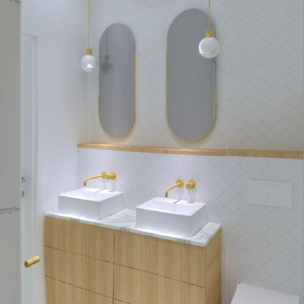 łazienka marmuty złoto drewno dwie umywalki